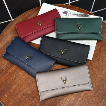 2017 New Fashion Leather Purse Women Wallet Vintage Deer Printed Black Wallets Ladies' Long Clutches With Coin Purse Card Holder