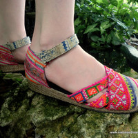 Classic Hmong Embroidery On Vintage Batik Ankle Strap Vegan Espadrilles, Shoes- Carmen