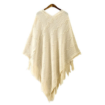 Chevron Comfortable Soft V Neck Womens Tassel Knit Pullover Sweater