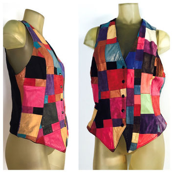 Suede Leather Vest, Multicolored Suede Patchwork Vest, Button Down Suede Vest, Firenze Santa Barbara Vintage Vest, Textured Colorblock Vest