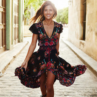 Boho Summer Dress Women Vintage Ethnic Floral Print V neck Female Party Long Maxi Dress Casual vestido largo robe longue WYZ7182