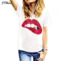 Plus Size Fashion Sequin Red Lip Tshirt