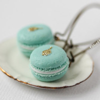 Macaron Earrings - Mint & Gold Tears - Miniature Pastries from Paris