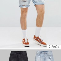 ASOS DESIGN 2 Pack Denim Shorts In Slim Washed Black & Light Wash With Heavy Rips 2 Pack SAVE at asos.com