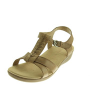 Naturalizer Womens Weslie Leather Wedge T-Strap Sandals