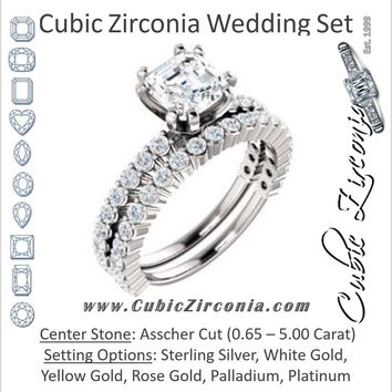 CZ Wedding Set, featuring The Thea engagement ring (Customizable 8-prong Asscher Cut Design with Thin, Stackable Pavé Band)