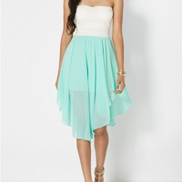 Flutter Hem Sweetheart Tube Dress