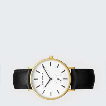 Classic Watch - brushed gold/black leather