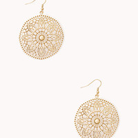 Cutout Floral Circle Earrings