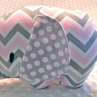 Baby Girl Light Pink Gray Chevron Gray Polka Dots Stuffed Elephant Toy