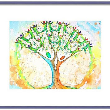 Tree of Life, Original Watercolor, 8x10, Family tree, Life Circle,Nursery, Unity Symbol,Fertility Art, Peace, Boho art, Zen art, colorful