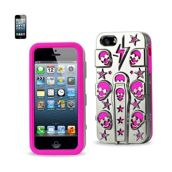 Reiko REIKO IPHONE SE/ 5S/ 5 HYBRID SKULLS CASE WITH KICKSTAND IN HOT PINK