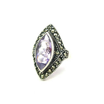 Art Deco Amethyst Ring Marquise Light Purple Raised Gemstone Sterling Silver 925 Marcasites Vintage 1980s Fine Jewelry Signed NF SZ 6.5