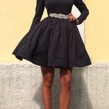 Black Long Sleeve Zippered Pleated Dress
