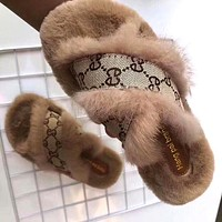 2019 new suede women's casual versatile slippers Khaki