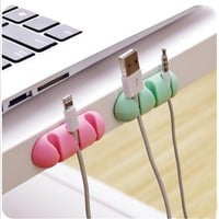2Pcs Self-adhesive Cable Clips Ties Holder Organizer Desk Wire Kitchen Storage Accessory JD645