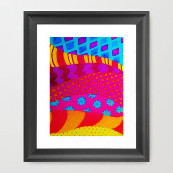 THE HIPSTER - Cool Colorful Vibrant Abstract Mixed Media Trendy Fabric Patterns Illustration Framed Art Print by EbiEmporium | Society6