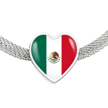 Mexican Pride - Luxury Heart Charm Bracelet