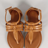 Abby-1 Leatherette Strappy Flat Sandal