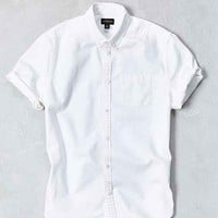 CPO Denim Tacked Short-Sleeve Button-Down Shirt