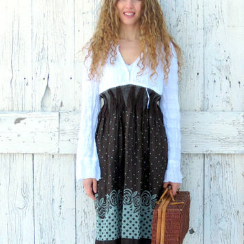 Upcycled peasant dress, indie fashion, bohemian dress, women's recycled dress, boho chic dress