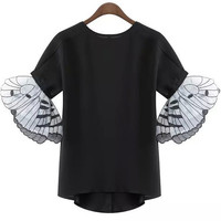 Black Butterfly Wings Cuff Chiffon Blouse
