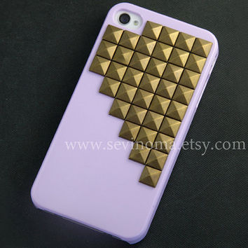 iphone 4 case, iphone 4s case, Bronze pyramid studded purple iPhone case, Hard iphone case, steampunk