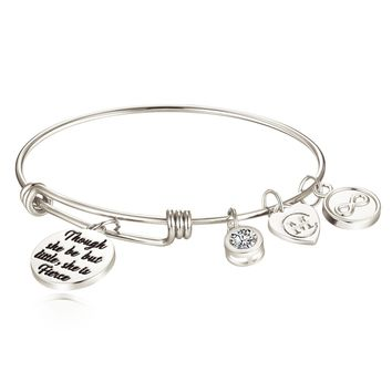 "Inspirational Charm Bangle Bracelets Engraved ""Though she be but little, she is fierce"" Motto Jewelry Gifts for Womens, Girls, Graduates, Students, Daughters, Granddaughters"