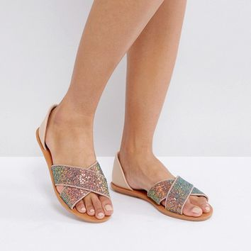London Rebel 2part Glitter Flat Sandal at asos.com