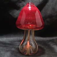 "Glass pipe, Mushroom shaped Chillum Pipe with Ruby Red colored Cap, Color Changing 2-3/4"" tall"