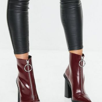 Missguided - Burgundy Zip Front Ring Pull Boots