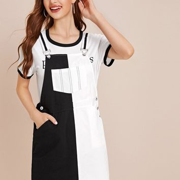 Two Tone Contrast Striped Pocket Pinafore Dress