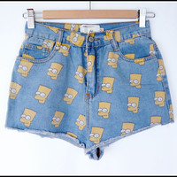 Cartoon Pattern High Waist Denim Short