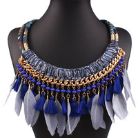 Mullticolor Statement Woven Beaded Feather And Tassel Necklace