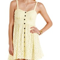 Yellow Button-Up Crocheted Lace Dress by Charlotte Russe