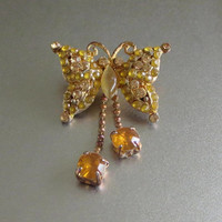 Liz Claiborne Butterfly Pin, Vintage, Citrine & Pale Yellow Rhinestones, Gold Tone, Cute!