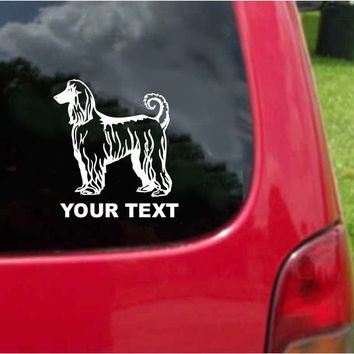 Afghan Hound Dog Sticker Decal with custom text 20 Colors To Choose From.