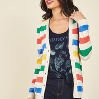 Rainbow With the Flow Striped Cardigan | Mod Retro Vintage Sweaters | ModCloth.com