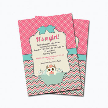 Best chevron pink baby shower invitation products on wanelo owl baby shower invitation printable digital file baby girl sh filmwisefo