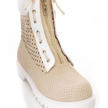Nude White Perforated Front Zipper Ankle Booties Faux Leather
