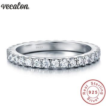 Vecalon Female Classic Wedding Band Ring 100% Soild 925 Sterling Silver Circle 5A Zircon Cz Engagement rings for women men Gift