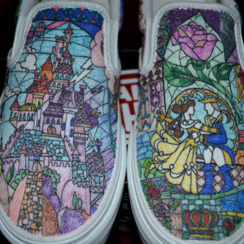 Custom Shoes Beauty and the Beast Stained by aDAMSELinDISTRESS