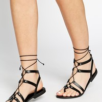 ASOS FOOZLE Guilly Tie Leather Sandals