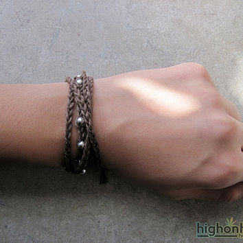 Brown Hemp Wrap Bracelet