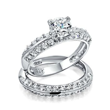 2.5CT Solitaire AAA CZ Engagement Wedding Ring Set 925 Sterling Silver