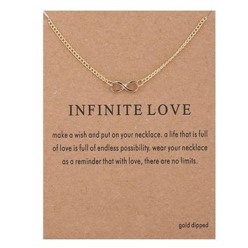 Tiny Infinite Symbol Card Alloy Clavicle Pendant Necklace   171212