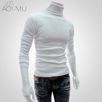 AOMU Winter Thick Warm Cashmere Sweater Men Turtleneck Solid Color Knitted Sweaters Slim Fit Pullover Men Knitwear Double collar