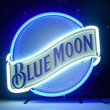 QUEEN SENSE® Blue Moon Neon Light Sign Home Beer Bar Pub Recreation Room Game Room Windows Garage Wall Sign L123X