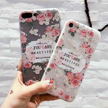 Retro Floral Case for iPhone X 8 7 6S Plus &Gift Box
