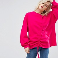 Pull&Bear Gathered Tie Up Front Sweatshirt at asos.com